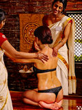 Woman luxuriate  at Ayurvedic spa treatment Royalty Free Stock Images