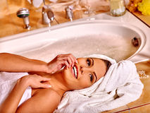 Woman luxuriate at home bath Stock Photo
