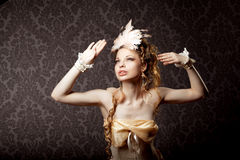 Woman in a luxurious vintage style Stock Photography
