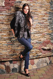 Woman in Luxury black fox fur coat Stock Images