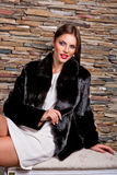 Woman in Luxury black Fur Coat Stock Image