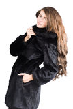 Woman in Luxury expensive mink coat Stock Image
