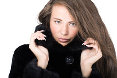 Woman in Luxury expensive mink coat Stock Photo