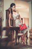 Woman in luxury interior Stock Photos