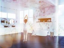 Woman in luxury marble bathroom, morning Vector Illustration