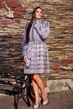 Woman in Luxury purple chinchilla Fur Coat Royalty Free Stock Photos