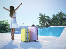 Woman in luxury resort near the swimming pool. 3d rendering Royalty Free Stock Images