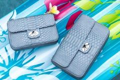 Woman luxury snakeskin python handbag in the swimming pool. Handmade luxury bag. Woman luxury snakeskin python handbag in the swimming pool royalty free stock photo
