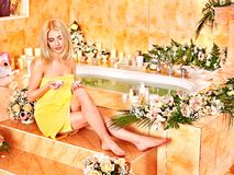 Woman at luxury spa. Royalty Free Stock Photos