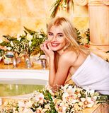 Woman at luxury spa. Stock Photos