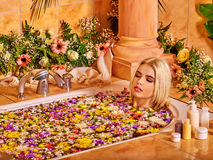 Woman at luxury spa Stock Images