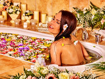 Woman at luxury spa Stock Photo