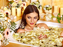 Woman at luxury spa. Stock Images
