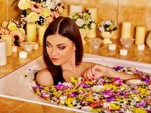 Woman at luxury spa Stock Photo