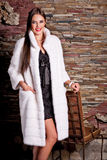 Woman in Luxury white Fur Coat Stock Photos