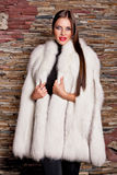 Woman in Luxury white Fur Coat Royalty Free Stock Image