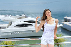 Woman on luxury yacht Royalty Free Stock Image