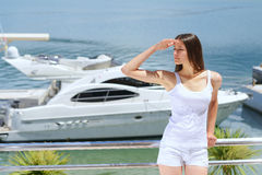 Woman on luxury yacht Royalty Free Stock Photography