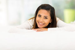 woman lying bed Stock Image