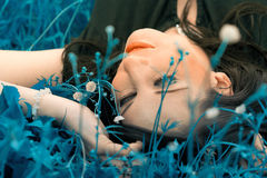 Woman lying in the blue grass Stock Photos