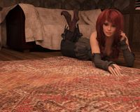 Woman lying on carpet 3D,CG. 3D render of a woman with red hair lying on a carpet vector illustration