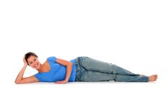 Woman lying down Stock Images