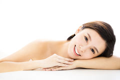 Woman  lying down on towel during skin care Stock Photo