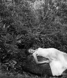 Woman Lying on Fallen Tree Royalty Free Stock Photography