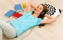 Woman lying on floor Royalty Free Stock Images