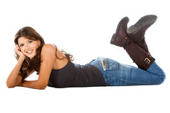 Woman lying on the floor Royalty Free Stock Images