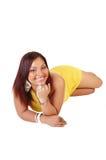 Woman lying on floor. Stock Photo