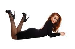 Woman lying on floor. Stock Photography
