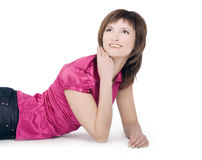 Woman lying on floor and looking at you Stock Photo
