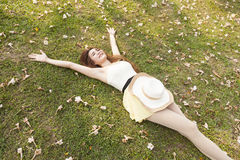 Woman lying on the grass. Stock Photography