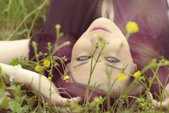 Woman lying in the grass Royalty Free Stock Photo