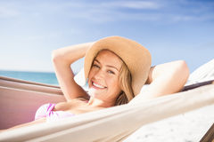 Woman lying in hammock. On the beach Royalty Free Stock Image