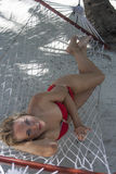 Woman lying in the hammock Royalty Free Stock Image
