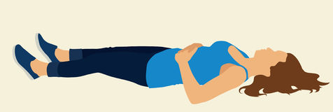 Woman Lying on her Back. Physically fit White or Caucasian female Lying On Flat surface stock illustration
