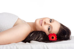 Woman Lying on her Back in Spa Relaxing Stock Images