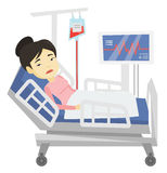 Woman lying in hospital bed vector illustration. Royalty Free Stock Images