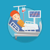 Woman lying in hospital bed vector illustration. Royalty Free Stock Photo