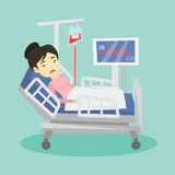 Woman lying in hospital bed vector illustration. Royalty Free Stock Image