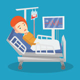 Woman lying in hospital bed vector illustration. Stock Images
