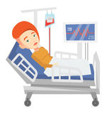 Woman lying in hospital bed vector illustration. Stock Image
