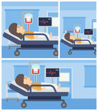Woman lying in hospital bed. Stock Photos