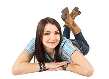 Woman lying jeans Stock Images