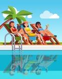 Woman lying on loungers near swimming pool stock illustration