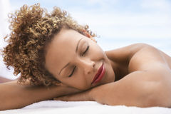 Woman Lying On Massage Table Royalty Free Stock Photography