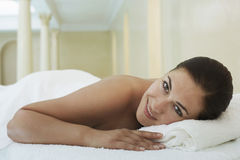 Woman Lying On Massage Table At Spa Royalty Free Stock Photography