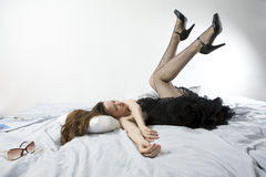 Free Woman Lying On Bed Stock Photos - 8653443